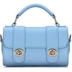 Yoins Micro Leather-look Top Handle Bag in Sky Blue (383.980 IDR) ❤ liked on Polyvore featuring bags, handbags, bags other, blue, faux leather handbags, vegan handbags, blue purse, synthetic leather handbag and imitation handbags