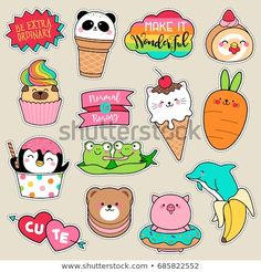 Set of fashion patches, cute colorful badges, fun cartoon icons design vector in animal shaped food concept Doodles Kawaii, Cute Doodles, Stickers Kawaii, Cute Stickers, Laptop Stickers, Kawaii Drawings, Easy Drawings, Printable Stickers, Planner Stickers