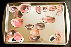 Make face magnets by cutting our different pictures of facial features from magazines and pasting them to magnets!