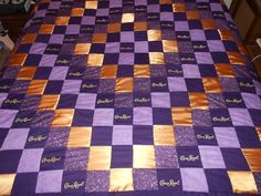 Crown Royal Quilt with Matching Pillow Shams by on Etsy Crown Royal Quilt, Crown Royal Bags, Crown Crafts, Diy Crown, Patchwork Patterns, Quilt Patterns Free, Block Patterns, Crown Apple, Purple Quilts