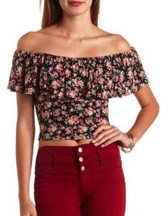 floral print off-the-shoulder flounce crop top