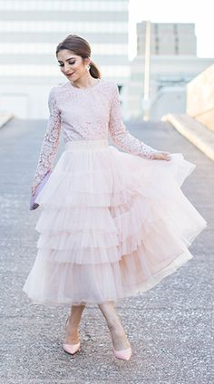 Swooning? We get it! This layered tulle skirt in a confectionary pink has us head over heels in love. Love Me More Layered Tulle Skirt in Nude Pink featured by The J Petite Blog
