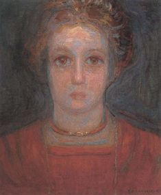 Piet Mondrian portrait of a young woman in red,1908 to 09 oil painting picture