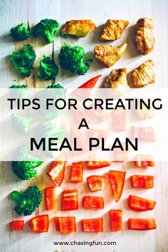 Tips for creating a meal plan, including daily calorie limit, cleaning our your pantry, keeping it simple, using meal prep containers, a reusable weekly menu meal planner and much more! #mealplan #chasingfun