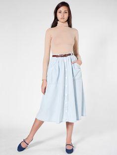 American Apparel - Button Up Long Denim Skirt
