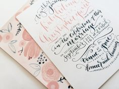 Hand-Painted Wedding Invitation Suite with Custom Calligraphy // Coral + Navy // Floral