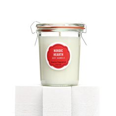 Nordic Hearth Soy candle packaging