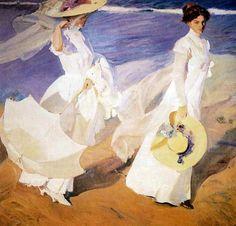 Promenade au bord de la mer, Joaquim Sorolla