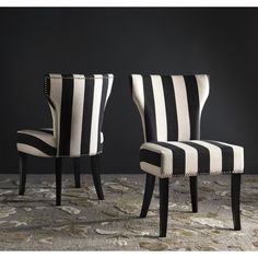 Safavieh En Vogue Dining Matty Black and White Striped Side Chairs (Set of - 17983089 - Overstock - Great Deals on Safavieh Dining Chairs - Mobile Striped Dining Chairs, Striped Chair, Modern Dining Chairs, Dining Chair Set, Dining Room Chairs, Side Chairs, Accent Chairs, Office Chairs, Lounge Chairs