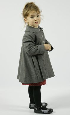 Girls Heathered Grey Wool Dress Coat. Toddler Girls Big Girls Size ...