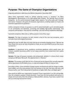 """#ΝίκοςΜουρκογιάννης: Άρθρο """"Purpose the game of champion organizations"""""""
