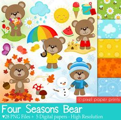 4 Seasons Bear - Clip art and digital paper set - Seasons clipart