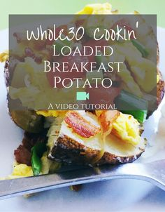 Perfect Whole30 breakfast recipe. Simple, easy, and quick for busy mornings or anytime. Bonus: It's got @wellshire Paleo BACON! Watch this tutorial and make the Loaded Breakfast Potato, today!