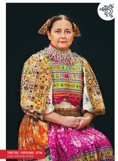 Turie Pole, Podpoľanie, Slovakia Folk Embroidery, Folk Costume, Traditional Dresses, Folklore, Tribal Dress, Wedding Costumes, Body Modifications, Festival Wear, Dance Wear