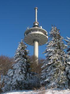 Telecommunications tower on the Hoherodskopf, Vogelsberg Germany.