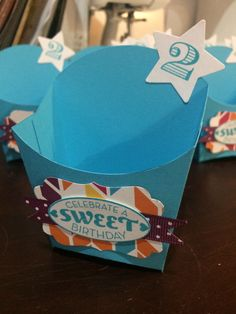#stampinup French fry box die #partyfavors #secondbirthdaypartyideas. Tempting turquoise, sweet taffy dsp, French fry box die