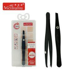 eyebrow tweezers hair tweezers acne blackhead tweezers hair clip hair removal tool slant stainless steel with artificial diamond