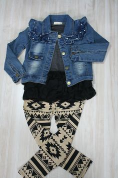Girls Aztec Black and Tan Leggings - Ryleigh Rue. This website has some of the cutest stuff