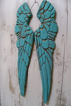 Aqua wings carved wood French Santos style by AnitaSperoDesign, $120.00