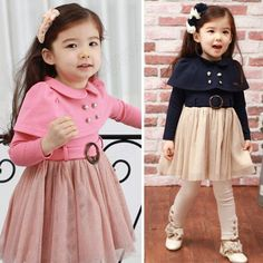 Discount China china wholesale Kids Toddlers Shirt Girls Blue Pink Pageant Cotton Dress Size 2-7 Years Dress [60010] - US$13.49 : DealsChic