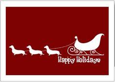Wiener Dog Christmas Card