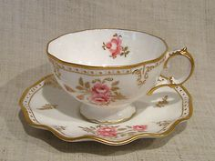 Royal Crown Derby ROYAL PINXTON ROSES Cup & Saucer