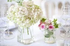 Centre de table hortensia blanc