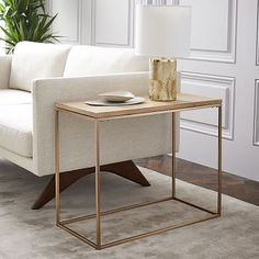 Streamline Narrow Side Table, Whitewash Mango, Light Bronze at West Elm - Side Tables - Home Decor - Tables Small Furniture, Living Room Furniture, Modern Furniture, Home Furniture, Living Room Decor, Living Room Side Tables, Narrow Side Table, White Side Tables, Modern Side Table