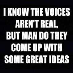 I know the voices aren't real, but man do they come up with some great ideas!