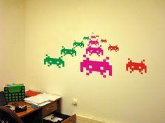 Space Invaders Pixel Creatures Wall Decals Vinyl Stickers Art Decor Atari Computer Video Game