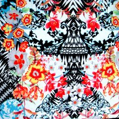 The Fabric Fairy Exotic Floral Nylon Lycra Swimsuit Fabric