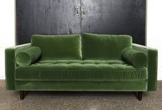 Green velvet sofa with tufted back and round cushions at arms. Green Velvet Sofa, Love Seat, Cushions, Lounge, Couch, Furniture, Home Decor, Throw Pillows, Airport Lounge