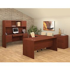 Bestar Fall Creek L-Shaped Office Suite - executive office suites Executive Office Furniture, Home Office Furniture, Furniture Decor, Wholesale Office Supplies, Housing Works, Office Suite, Office Items, Dining Chairs, Fall