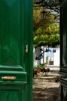 Love the green door. i would like to go through (to a resort called Orloff in Spetses, Attica, Greece) Grand Entrance, Color Of The Year, Greek Islands, Oh The Places You'll Go, Shades Of Green, Beautiful Places, Around The Worlds, Architecture, Windows