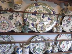 Emma Bridgewater Figs Oval Platter and Dollies Tea Plate on display Emma Bridgewater Pottery, Hand Painted, Fig Tree, Plates, Figs, Dressers, Tableware, Tabletop, Cottage