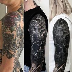 inspiration for a Blackwork tattoo. - Tattoos -Search inspiration for a Blackwork tattoo. Tattoo Sleeve Cover Up, Black Sleeve Tattoo, Black Ink Tattoos, Cover Up Tattoos, Body Art Tattoos, Tribal Tattoos, Sleeve Tattoos, Stomach Tattoos, Hip Tattoos
