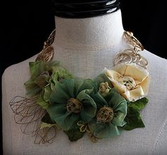 SHANGHAI SPRING Mixed Media Statement Necklace by carlafoxdesign,