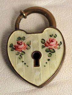 Vintage Guilloche Enamel Padlock Heart Pendant Charm with Keyhole Walter Lampl
