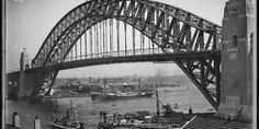 Glass plate negative, half plate, glass, depicting the German freighter [Chemnitz], passing under Sydney Harbour Bridge on Opening Day during Parade of Ships, Sydney, New South Wales, Australia, 19 March 1932 2017, Museum of Applied Arts & Sciences, accessed 10 April 2017, <https://ma.as/495538>