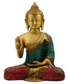 Handmade brass Buddha statue with mosaic tiles and antique finish. Buddha statues available at BuddhaGroove.com.