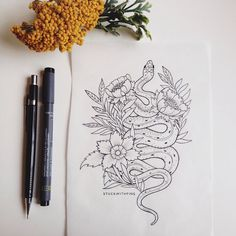 So in love with this William Morris inspired garter snake tattoo design I just finished for a client! Can't wait to see this one on…