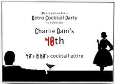 Retro Cocktail/Mad Men Party invitation