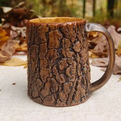 Tree Bark Mug with honey yellow interior
