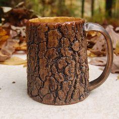 Tree Bark Mug with honey yellow interior