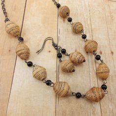 Necklace and Earring Set - African Paper Beads - Tan and Black with Gunmetal. $25.00, via Etsy.