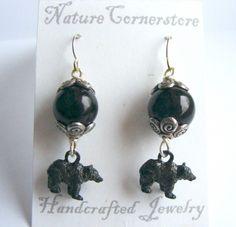 Black Bear Glass Earrings | NatureCornerstore - Jewelry on ArtFire