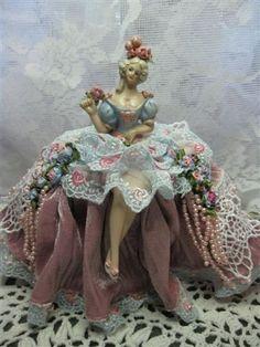 A new sitting porcelain half doll pincushion doll. by KaysStudio