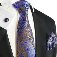 Extra Long Brown and Blue Paisley Silk Tie Set by Paul Malone