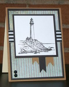 The Cutting Garden Papercraft Studio Lighthouse 3 Masculine Birthday Cards, Birthday Cards For Men, Masculine Cards, Male Birthday, Boy Cards, Cute Cards, Men's Cards, Nautical Cards, Stamping Up Cards