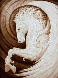 Pegasus. Das Pferd symbolisiert den reinen Instinkt, die Libido, psychische Energie, jene Kraft, die uns trägt und das bewusste Ich ständig unterstützt, verbunden mit dem Drang zur Individuation, meist ohne dass wir es merken.